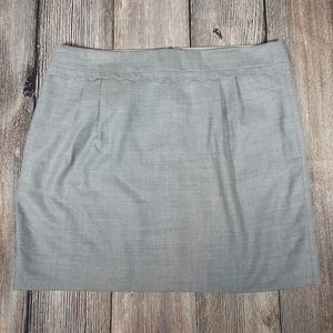 J Crew scalloped wool skirt lined size 14 grey